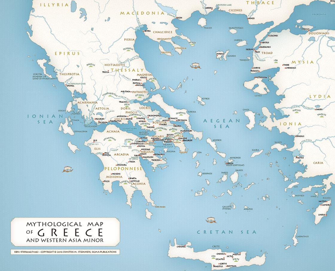 Greek Mythology maps Mythological map of Greece