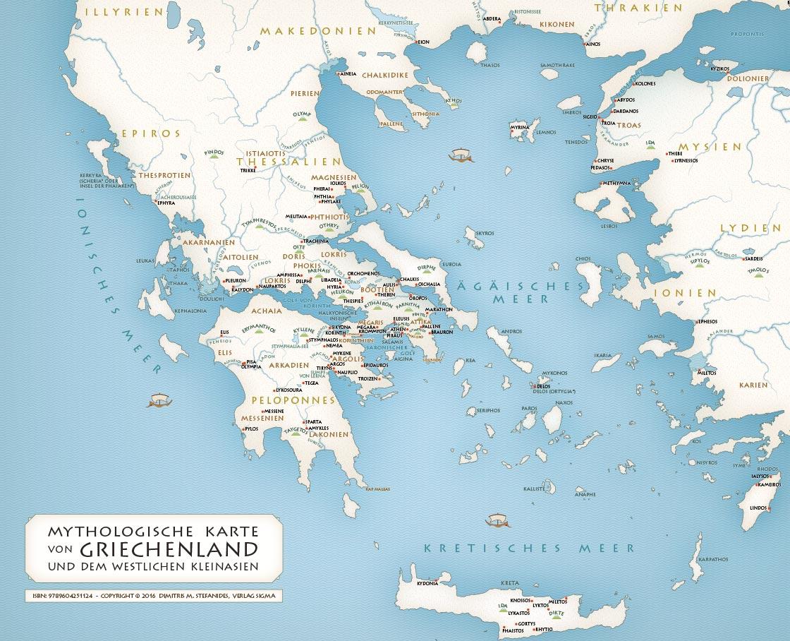 Karten Griechische Mythologie Mythologische Karte Von Griechenland