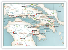 mythology map of Greece
